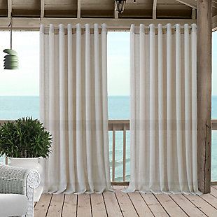 "Home accents Carmen Sheer Extra Wide Indoor/Outdoor Window Curtain with Tieback, Natural, 114"" x 84"", Natural, large"