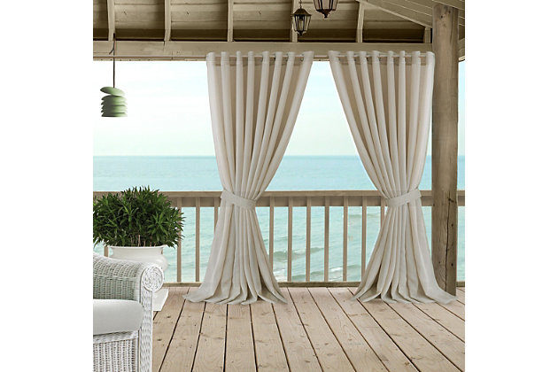 """Home accents Carmen Sheer Extra Wide Indoor/Outdoor Window Curtain with Tieback, Natural, 114"""" x 84"""", Natural, large"""