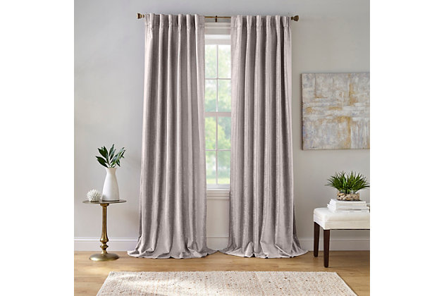 "Home accents Carnaby Distressed Velvet Window Curtain Panel, Gray, 50"" x 95"", Gray, large"