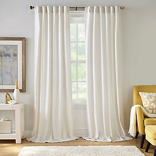 """Home accents Carnaby Distressed Velvet Window Curtain Panel, Ivory, 50"""" x 95"""", Ivory, large"""