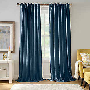 "Home accents Carnaby Distressed Velvet Window Curtain Panel, Denim, 50"" x 84"", Denim, large"