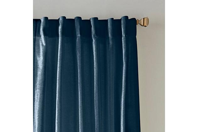"Home accents Carnaby Distressed Velvet Window Curtain Panel, Denim, 50"" x 84"", Denim, large"