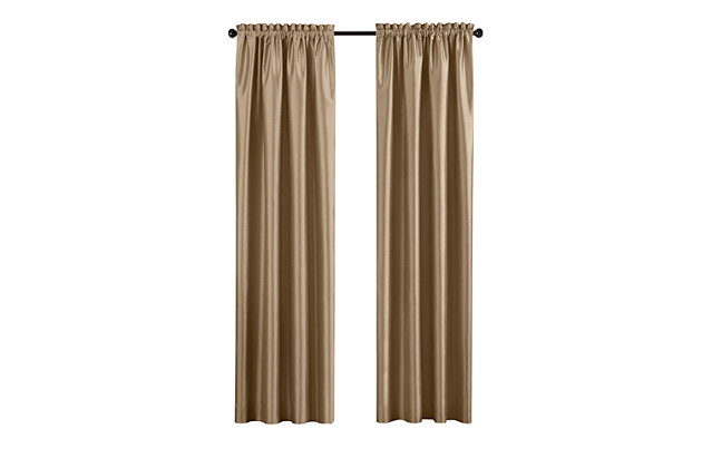 """Home accents Colette Faux Silk Blackout Window Curtain Panel, Gold, 52"""" x 84"""", Gold, large"""