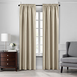 "Home accents Colette Faux Silk Blackout Window Curtain Panel, Ivory, 52"" x 84"", Ivory, large"