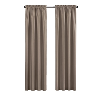 """Home accents Colette Faux Silk Blackout Window Curtain Panel, Taupe, 52"""" x 84"""", Taupe, large"""