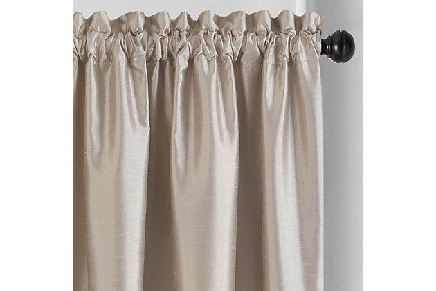 "Home accents Colette Faux Silk Blackout Window Curtain Panel, Taupe, 52"" x 84"", Taupe, large"