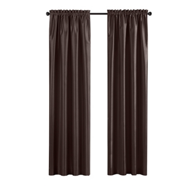 """Home accents Colette Faux Silk Blackout Window Curtain Panel, Chocolate, 52"""" x 95"""", Chocolate, large"""