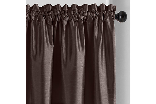 "Home accents Colette Faux Silk Blackout Window Curtain Panel, Chocolate, 52"" x 95"", Chocolate, large"