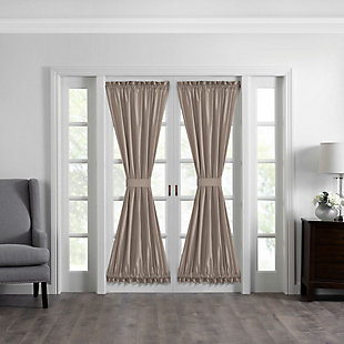 """Home accents Colette Faux Silk French Door Window Panel, Taupe, 54"""" x 72"""", Taupe, large"""