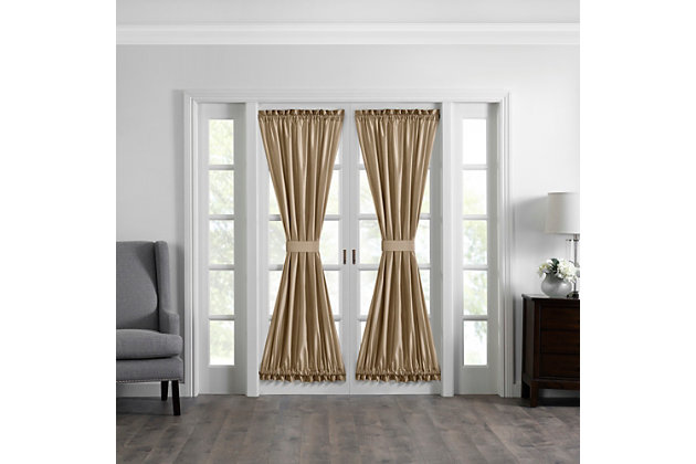 """Home accents Colette Faux Silk French Door Window Panel, Gold, 54"""" x 72"""", Gold, large"""
