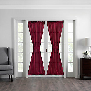 "Home accents Colette Faux Silk French Door Window Panel, Red, 54"" x 72"", Red, large"