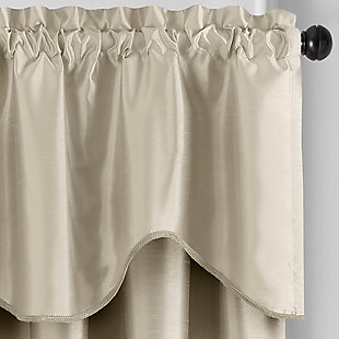 """Home accents Colette Faux Silk Scalloped Window Valance, Ivory, 50"""" x 21"""", Ivory, large"""