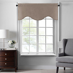 "Home accents Colette Faux Silk Scalloped Window Valance, Taupe, 50"" x 21"", Taupe, large"