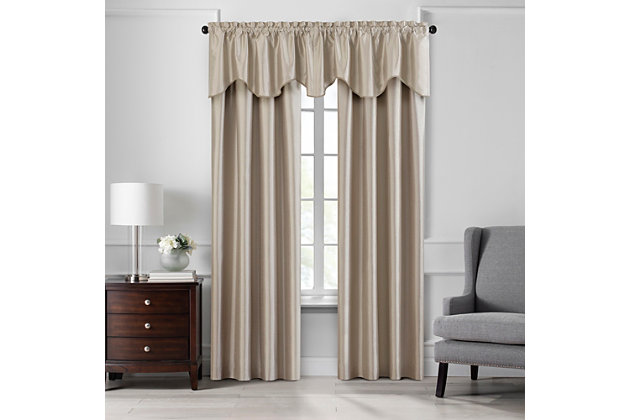 """Home accents Colette Faux Silk Scalloped Window Valance, Taupe, 50"""" x 21"""", Taupe, large"""