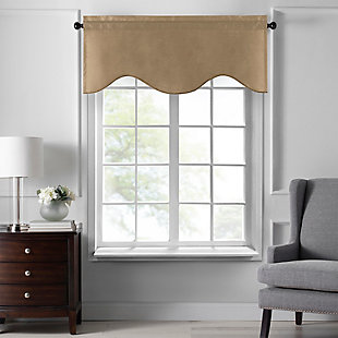 """Home accents Colette Faux Silk Scalloped Window Valance, Gold, 50"""" x 21"""", Gold, large"""