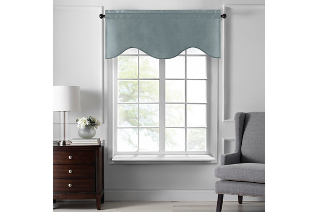 """Home accents Colette Faux Silk Scalloped Window Valance, Mineral, 50"""" x 21"""", Mineral, large"""