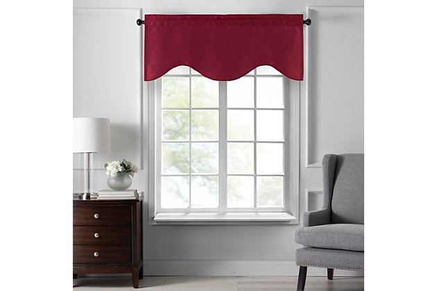 "Home accents Colette Faux Silk Scalloped Window Valance, Red, 50"" x 21"", Red, large"