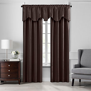 "Home accents Colette Faux Silk Scalloped Window Valance, Chocolate, 50"" x 21"", Chocolate, large"