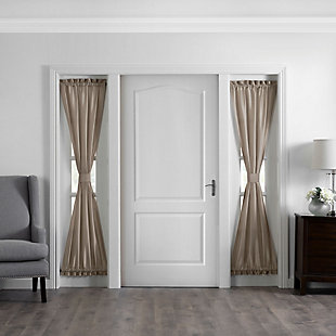 """Home accents Colette Faux Silk Side Door Window Panel, Taupe, 28"""" x 72"""", Taupe, large"""