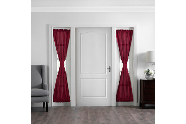 """Home accents Colette Faux Silk Side Door Window Panel, Red, 28"""" x 72"""", Red, large"""