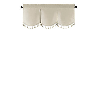 "Home accents Colette Faux Silk Tassel Scallop Window Valance, Ivory, 48"" x 21"", Ivory, rollover"