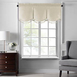 "Home accents Colette Faux Silk Tassel Scallop Window Valance, Ivory, 48"" x 21"", Ivory, large"