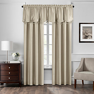 """Home accents Colette Faux Silk Tassel Scallop Window Valance, Ivory, 48"""" x 21"""", Ivory, large"""