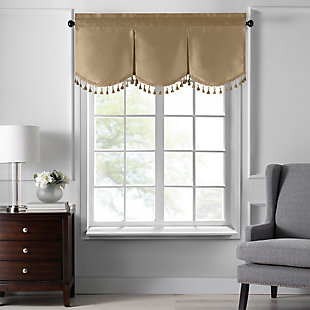 """Home accents Colette Faux Silk Tassel Scallop Window Valance, Gold, 48"""" x 21"""", Gold, large"""
