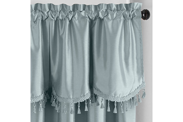"""Home accents Colette Faux Silk Tassel Scallop Window Valance, Mineral, 48"""" x 21"""", Mineral, large"""