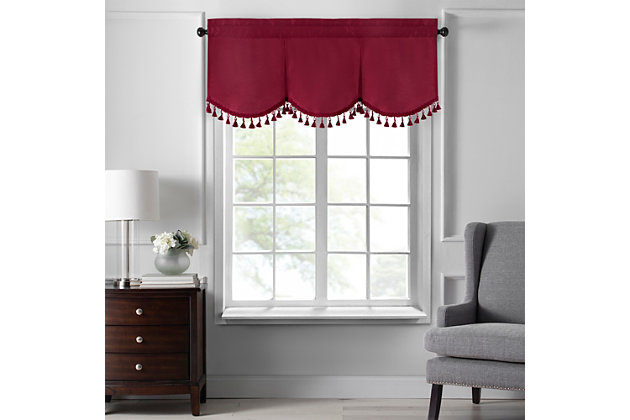 """Home accents Colette Faux Silk Tassel Scallop Window Valance, Red, 48"""" x 21"""", Red, large"""