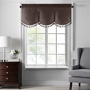 "Home accents Colette Faux Silk Tassel Scallop Window Valance, Chocolate, 48"" x 21"", Chocolate, large"