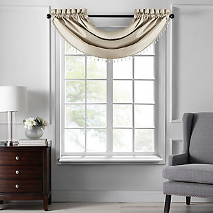 "Home accents Colette Faux Silk Waterfall Beaded Window Valance, Ivory, 42"" x 22"", Ivory, large"