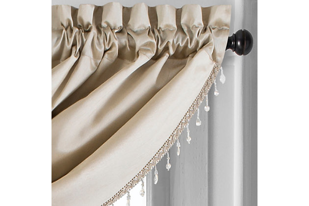 "Home accents Colette Faux Silk Waterfall Beaded Window Valance, Taupe, 42"" x 22"", Taupe, large"