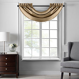 "Home accents Colette Faux Silk Waterfall Beaded Window Valance, Gold, 42"" x 22"", Gold, large"