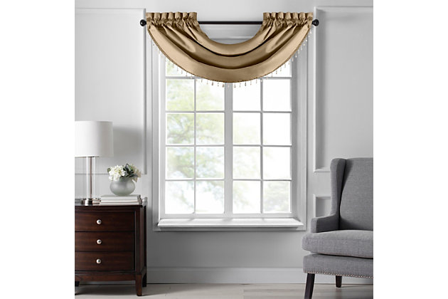 """Home accents Colette Faux Silk Waterfall Beaded Window Valance, Gold, 42"""" x 22"""", Gold, large"""