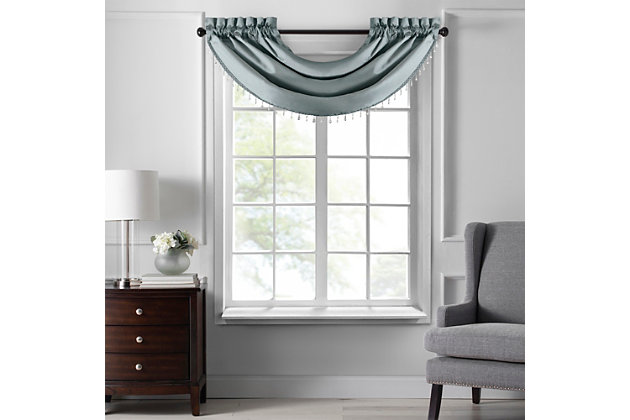 """Home accents Colette Faux Silk Waterfall Beaded Window Valance, Mineral, 42"""" x 22"""", Mineral, large"""