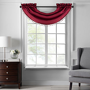 """Home accents Colette Faux Silk Waterfall Beaded Window Valance, Red, 42"""" x 22"""", Red, large"""