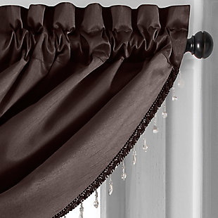 """Home accents Colette Faux Silk Waterfall Beaded Window Valance, Chocolate, 42"""" x 22"""", Chocolate, large"""