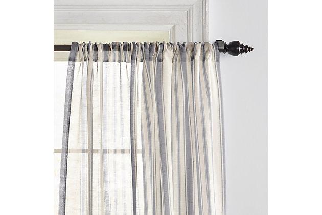 "Home accents Hampton Stripe Sheer Window Curtain Panel, Gray, 52"" x 84"", Gray, large"