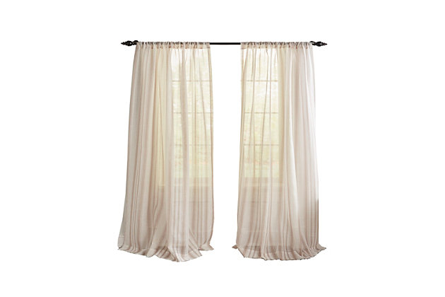 "Home accents Hampton Stripe Sheer Window Curtain Panel, Linen, 52"" x 84"", Linen, large"