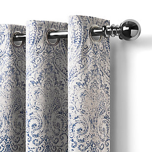 """Home accents Julianne Window Curtain Panel, Blue, 52""""x95"""", Blue, large"""