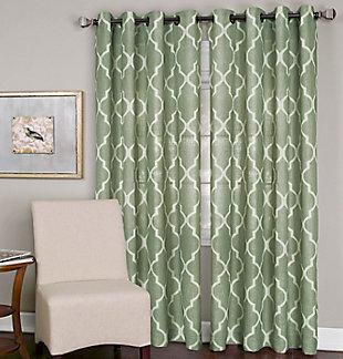 "Home accents Medalia Room Darkening Geometric Window Curtain, Spa Green, 52""x84"", Spa Green, large"