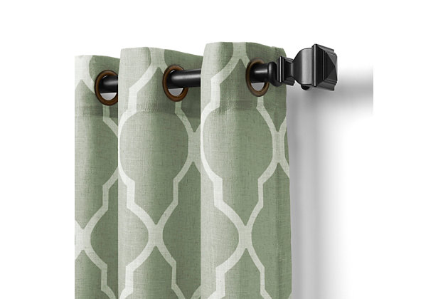 "Home accents Medalia Room Darkening Geometric Window Curtain, Spa Green, 52""x95"", Spa Green, large"