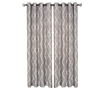 "Home accents Medalia Room Darkening Geometric Window Curtain, Stone, 52""x84"", Stone, rollover"