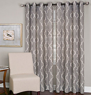 "Home accents Medalia Room Darkening Geometric Window Curtain, Stone, 52""x84"", Stone, large"