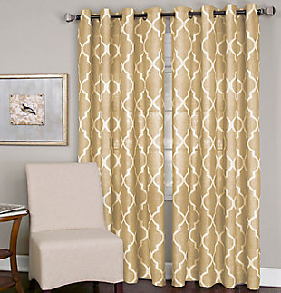 "Home accents Medalia Room Darkening Geometric Window Curtain, Toasted Wheat, 52""x84"", Toasted Wheat, large"