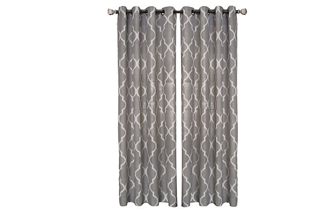 "Home accents Medalia Room Darkening Geometric Window Curtain, Dark Gray, 52""x84"", Dark Gray, large"