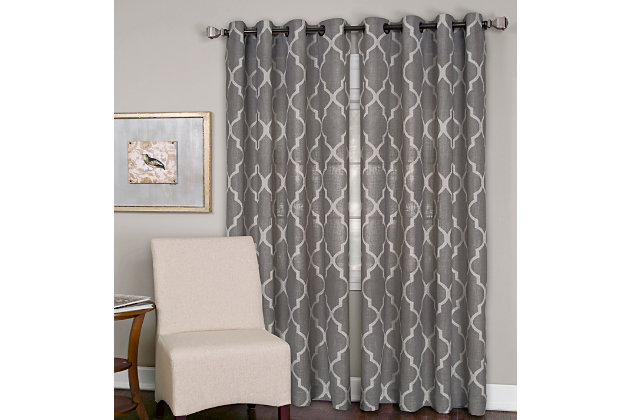 "Home accents Medalia Room Darkening Geometric Window Curtain, Dark Gray, 52""x95"", Dark Gray, large"