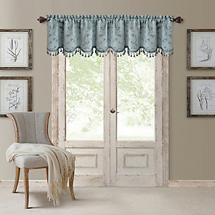 "Home accents Mia Beaded Scallop Window Valance, Blue, 52"" x 19"", Blue, large"