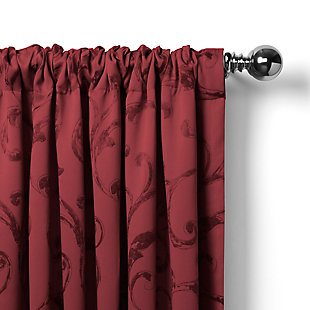 """Home Accents Mia Jacquard Scroll Blackout Window Curtain Panel, Rouge, 52"""" x 95"""", Rouge, large"""